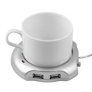 Silver 4 Port USB Hub + Tea Coffee Beverage Cup Electric