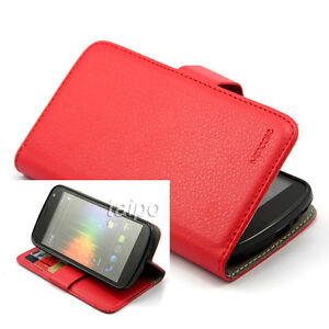 Wallet Litchi Leather Flip Skin Case Cover For Samsung Galaxy NEXUS I9250 Red