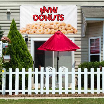 Vinyl Banner Sign Mini Donuts Restaurant Cafe Bar Marketing Advertising White
