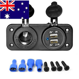 Dual USB Car Cigarette Lighter Socket Splitter 12V Charger Power Adapter GH