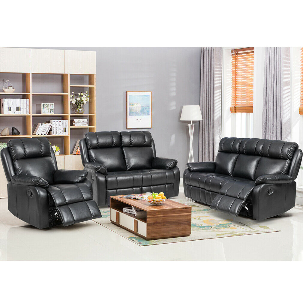 Loveseat Chaise Reclining Couch Recliner Sofa Chair Leather Accent Chair Set SF Furniture
