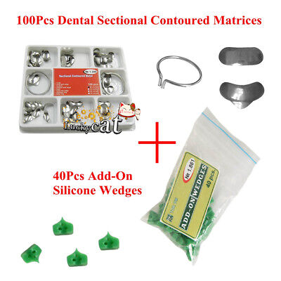 Dental 100pc Sectional Contoured Matrices Matrix Ring Delta 40pc Add-on Wedges