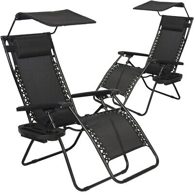 Black Patio Lounge Chair - New 2 PCS Zero Gravity Chair Lounge Patio Chairs with canopy Cup Holder HO20