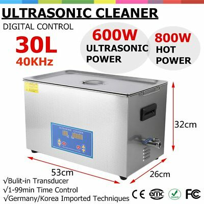 New Stainless Steel 30l Liter Industry Heated Ultrasonic Cleaner Heater Timer As
