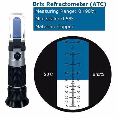 0-90% Brix Refractometer ATC 0.5% Resolution   Portable holster   Copper materia