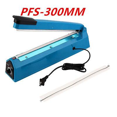 12 300mm Manual Impulse Heat Sealer Poly Bag Machine Shrink Wrap Free Element Y