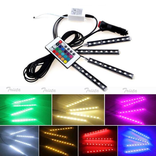 4x 9 LED Remote Control Colorful RGB Car Interior Floor Decorative Light Strip