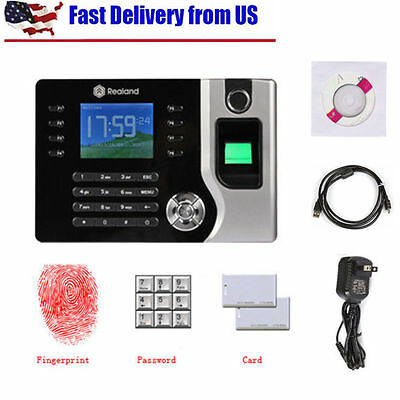 Realand 2.4 Biometric Fingerprint Time Attendance Machine Time Clock A-c071 Oub