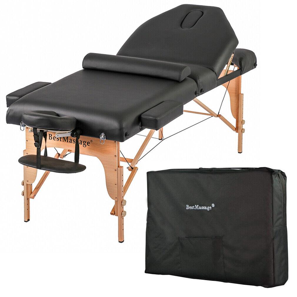 New Professional 77″ Long 30″ Wide 4″ Pad Reiki Portable Massage Table Black Health & Beauty