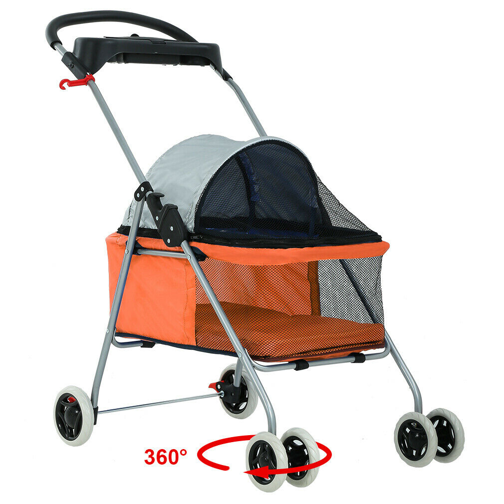 New BestPet Cute Orange Posh Pet Stroller Dogs Cats w/Cup Holder Dog Supplies