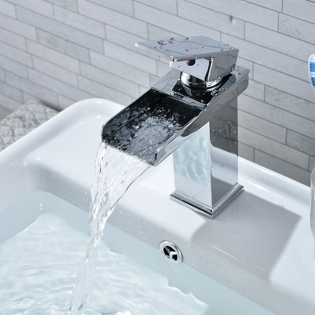 LESHP Waterfall Bathroom Basin Mixer Tap Chrome Monobloc Sink Taps ...