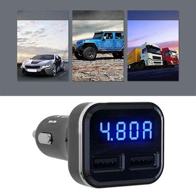 Dual USB Car Cigarette Charger with LED Display Volt Amp Meter DC 4.8A 5V UK