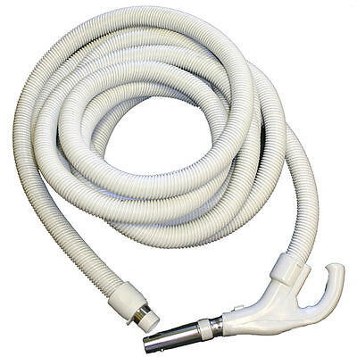 - Central Vacuum Hose 30ft Hose  Crushproof Low Voltage Switch- Grey with button