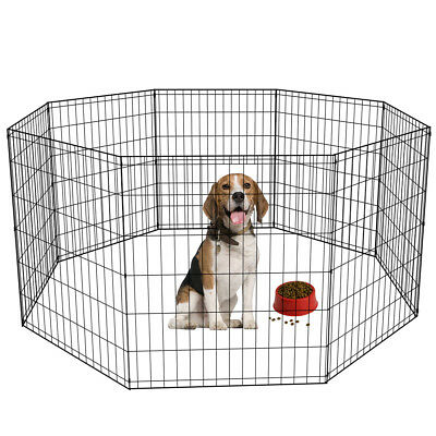 24 30 36 42 48 Tall Dog Playpen Crate Fence Pet Play Pen Exercise Cage -8 Panel