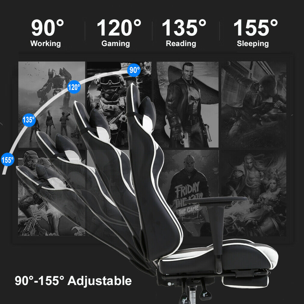 Racing Office Chair Massage PU Leather Recliner Computer Chair w/ Lumbar Support Chairs