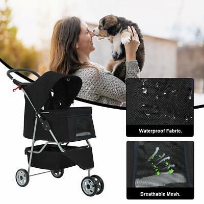 New Black Pet Stroller Cat Dog Cage 3 Wheels Stroller Travel Folding Carrier T13 Dog Supplies