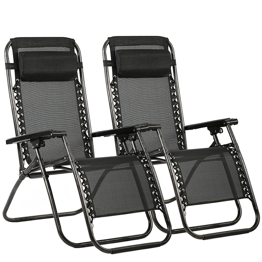 New Zero Gravity Chairs Case Of 2 Lounge Patio Chairs Outdoor Yard Beach O62
