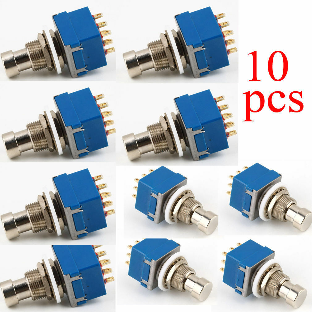 10PCS 9-pin 3PDT Guitar Effects Pedal Box Stomp Foot Metal Switch True  Bypass XU