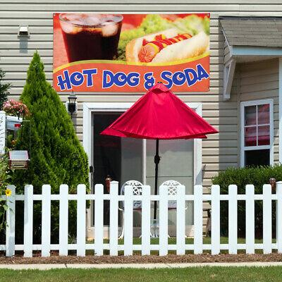 Vinyl Banner Sign Hot Dog Soda 2 Food Beverage Marketing Advertising Red