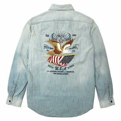 Ralph Lauren USA FLAG & EAGLE Print, Home Of The Brave Chambray Workshirt    L