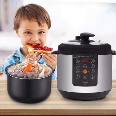Electric Pressure Cooker 6 Qt Rice Cooke Slow Cooker with Stainless Steel Pot Home & Garden