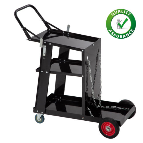 Welding Cart Welder Plasma Cutter Cart 3-Tier Universal Heavy Duty with Handrail