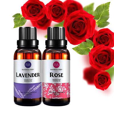 Therapie-rose (2x ätherische Öle Aromatherapie Rose + Lavendel 100% naturreines ätherisches Öl)