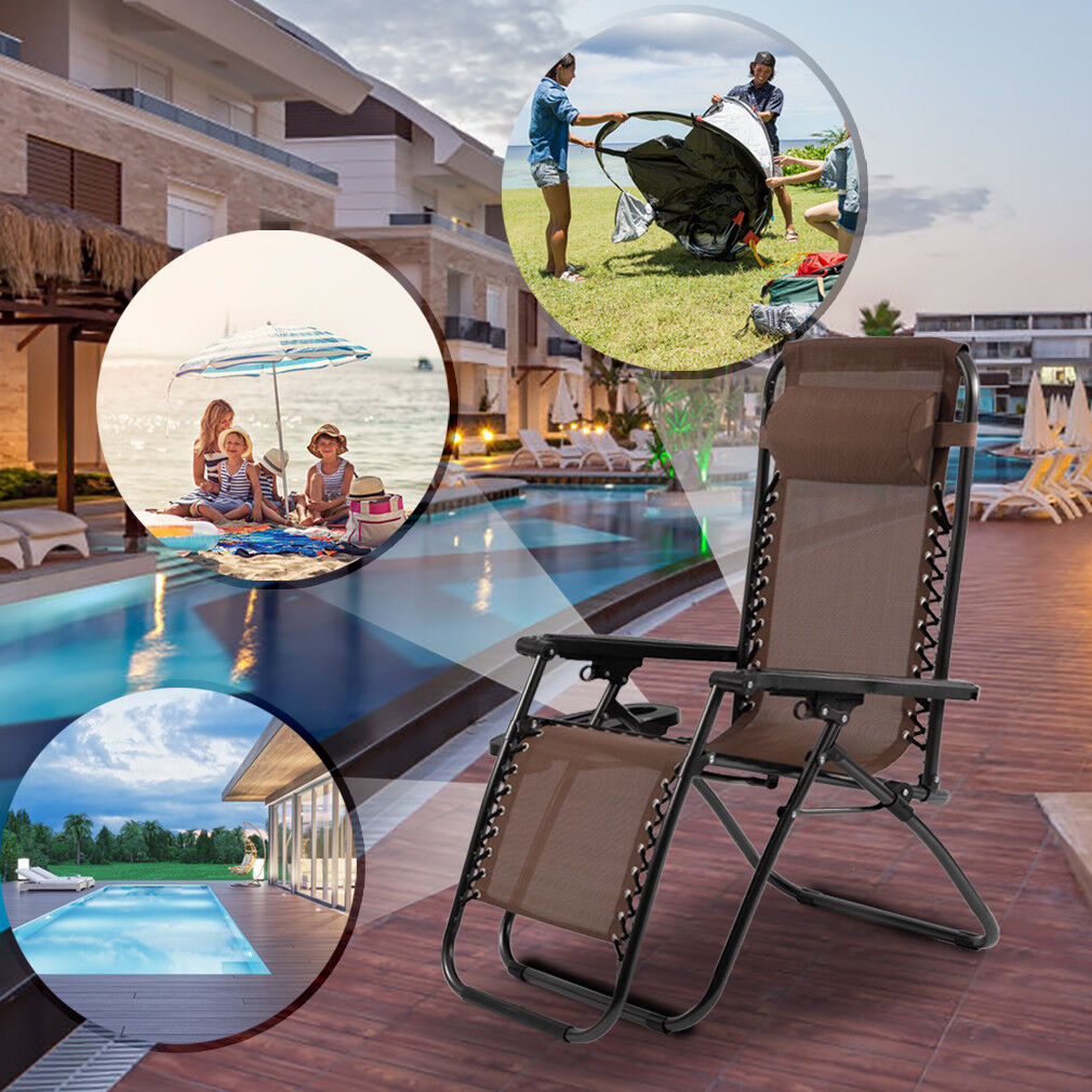 New Set of 2 Zero Gravity Chairs Reclining Folding Chairs Yard Bench with Holder Home & Garden