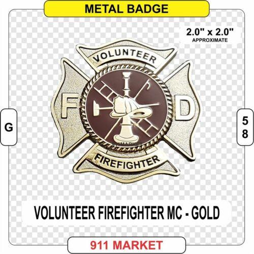 Volunteer Firefighter Maltese Cross Badge GOLD Fire Fireman Department  -   G 58