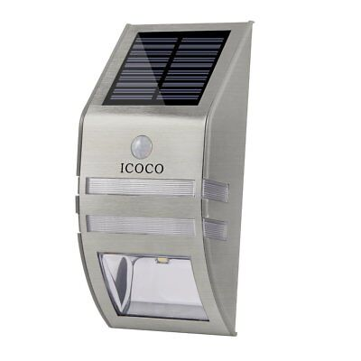 ICOCO 50LM Waterproof IP44 Stainless Steel Solar Wall Light With PIR Sensor EQ Stainless Steel Solar Wall