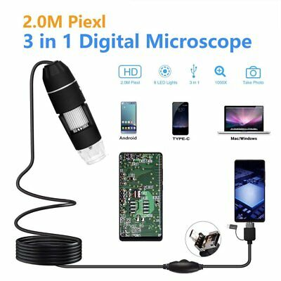 3 In 1 2mp Usb 1000x 8 Led Digital Microscope Endoscope Magnifier Camera Aq