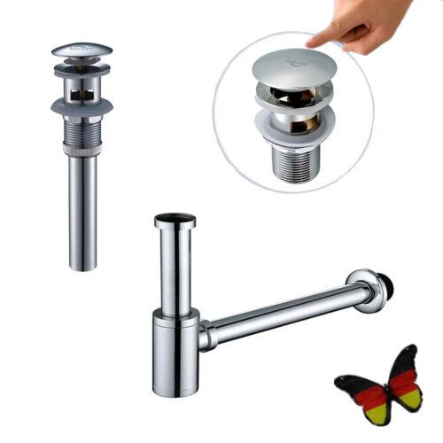Siphon Sifon Pop-Up Ablaufventil Waschbecken Abfluss Ablaufgarnitur mit Überlauf