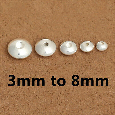 Sterling Silver Saucer UFO Beads Spacer Bead 925 Silver 3mm 4mm 5mm 6mm 7mm 8mm Sterling Silver Saucer Spacer Bead