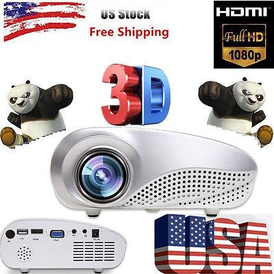 Home Theater Multimedia LED LCD 3D Projector 1080P HD HDMI TV PC AV USB VGA SD