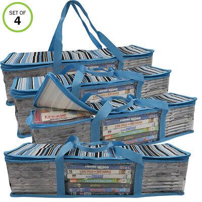 Evelots Cddvd Storage Bag-2 In 1-hold 96 Cds 32 Dvds Total-blue Stripes-set4