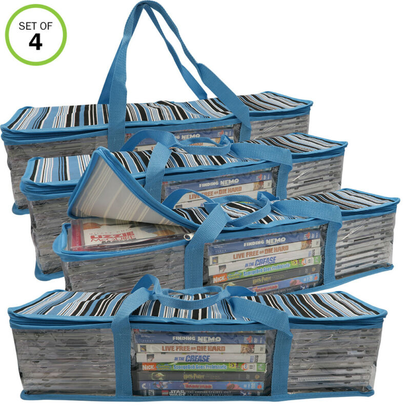 Evelots CD/DVD Storage Bag-2 in 1-Hold 96 CDs & 32 DVDs Total-Blue Stripes-Set/4