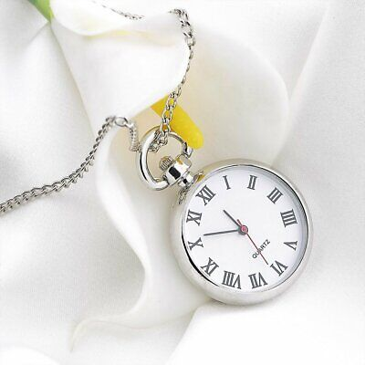 Antique White Dial Quartz Round Pocket Watch Necklace silver Chain Pendant SQ Antique White Pocket Watch