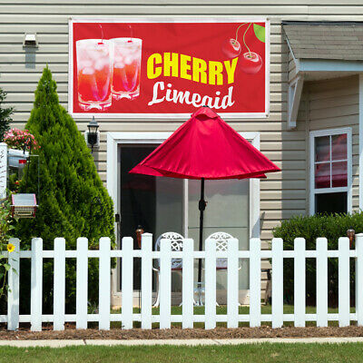 Vinyl Banner Sign Cherry Limeade Restaurant Cafe Bar Style U Cherry Outdoor Red