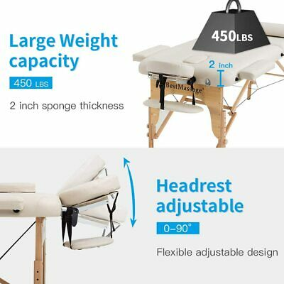 Portable Massage Table Massage Bed SPA Bed 2 Folding 73 Inch Long 28 Inch Wide Health & Beauty