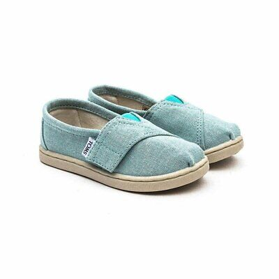 Toms Todler Tiny Girls Classics Slip On Sneakers Aqua Chambray 2 New