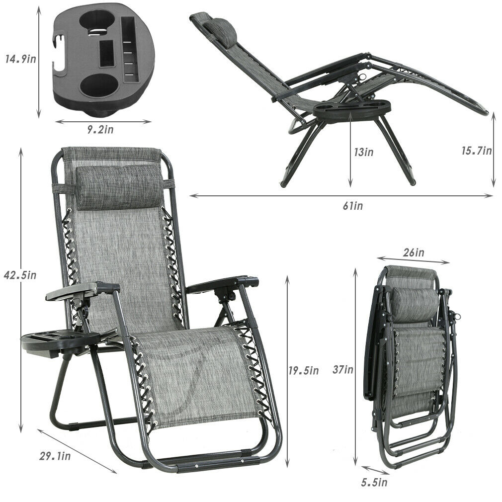 Zero Gravity Chair Patio Chairs Set of 2 Lawn Chair Outdoor Chair Deck Chairs Home & Garden