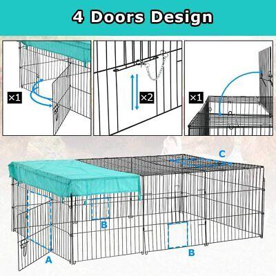 BestPet Pet Playpen Crate 4 Panel Rabbit Hutch Chicken Coop Hen Outdoor Metal Cages, Hutches & Enclosure