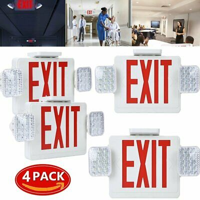 4pack - Red All Led Exit Sign Emergency Light Square Head Combo - Ul924 Combor2