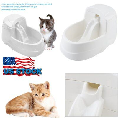 Pet Water Fountain For Cat Dog Automatic Food Bowl Dish Feeder Dispenser US MX