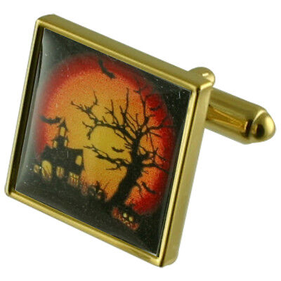 Reiters Halloween Gold Quadrat Manschettenknöpfe (Halloween Aps)
