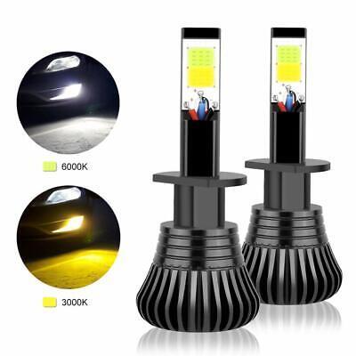 2X H1 COB LED DRL Fog Driving Light Bulbs Dual Color Flash White +