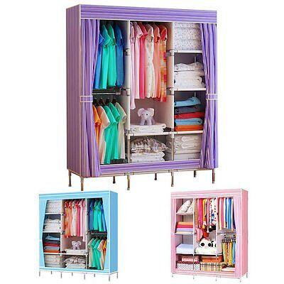 "69"" Portable Closet Storage Organizer Clothes Wardrobe Shoe Rack with Shelves MG"