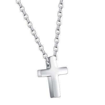 Edelstahl Silber Kreuz Anhänger mit 40cm Kette Damen Herren Halskette