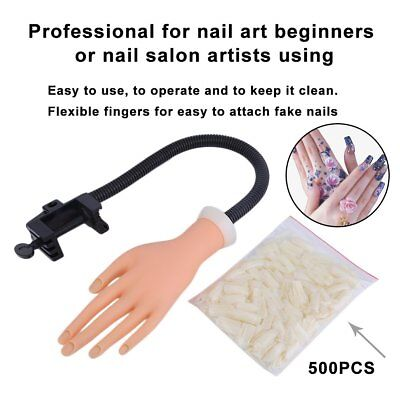 Flexible Nail Trainer Bendable Nail Art Practice Human Soft Hand w/ 500 tips BP