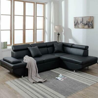 Contemporary Sectional Modern Sofa Bed – Black with Functional Armrest / Back R Furniture